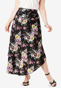 Faux-Wrap Midi Skirt, PEONY FLORAL