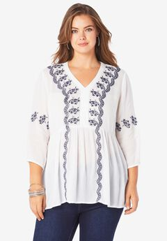 Embroidered V-Neck Tunic,