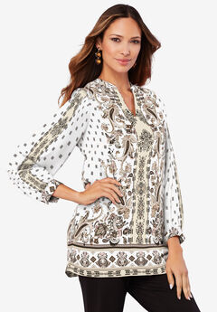 Banded-Collar Tunic with Split Neck,