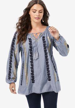 Embellished Sequin Boho Top,