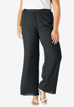 Georgette Wide-Leg Dress Pant, BLACK
