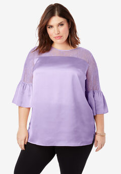 Lace Illusion Blouse with Bell Sleeves,