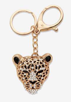 Goldtone and Enamel Round Crystal Leopard Cat Key Ring,