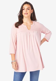 Shirred Notch-Neck Ultra Femme Tunic,