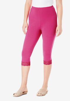 Lace-Trim Essential Stretch Capri Legging,