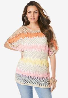 Multi Crop Crochet Pullover,