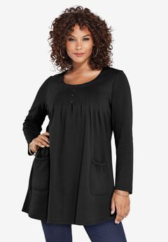 Long-Sleeve Two-Pocket Soft Knit Tunic,