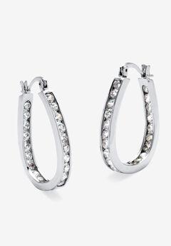 Silver Tone Inside Out Channel Set Hoop Earrings,