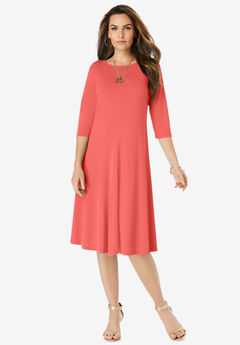 Ultrasmooth® Boatneck Swing Dress,