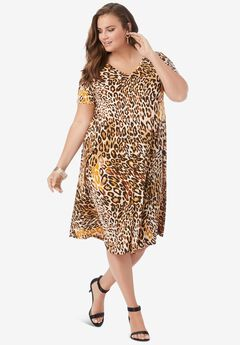 Ultra Smooth Swing Drape Dress, NATURAL LEOPARD