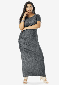 Supersoft Ruched Maxi Dress, HEATHER CHARCOAL