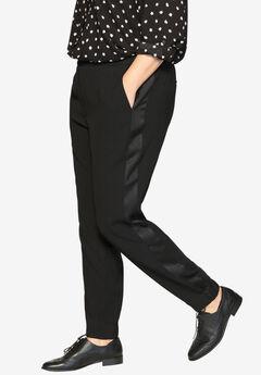 Tuxedo Stripe Pants , BLACK