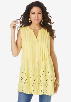 Eyelet Sleeveless Pintuck Tunic,