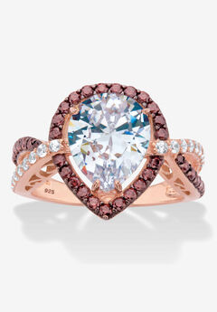 Gold over Silver Pear Cut Chcolate Cubic Zirconia Engagement Ring,