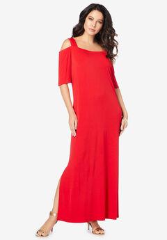 Ultrasmooth® Fabric Cold-Shoulder Maxi Dress,