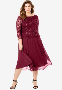 Embellished Lace & Chiffon Dress, RICH BURGUNDY