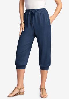 Drawstring Soft Knit Capri Pant,