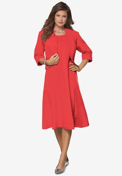 Fit-And-Flare Jacket Dress, SOFT GERANIUM