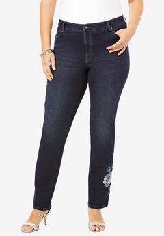 Floral Design Straight-Leg Jean , BLUE SEQUIN FLOWER