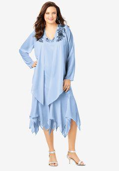 Sequin Jacket Dress Set, POWDER BLUE