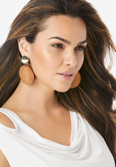 Round Wood Earrings,