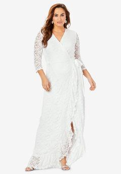 Lace Wrap Dress with Ruffle Hem,