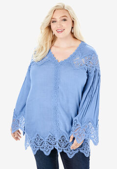 Lace-Trim Tunic, FRENCH BLUE