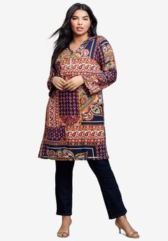 Beaded Tunic with Side Slits, NAVY LAYERED PATCHWORK