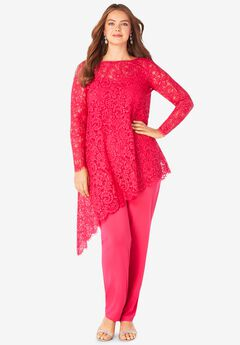 Lace Asymmetric Tunic & Pant Set,