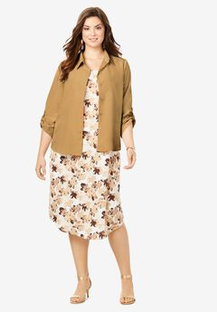 Three-Quarter Sleeve Jacket Dress Set with Button Front,
