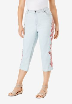 Sequin Embroidered Capri Jean by Denim 24/7®,