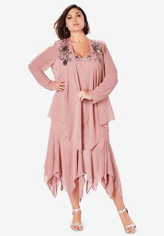 Sequin Jacket Dress Set, SOFT MAUVE