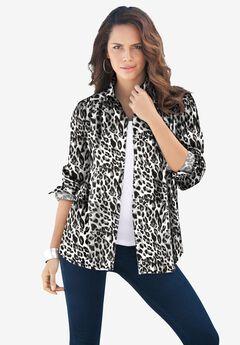 Long-Sleeve Kate Big Shirt, BLACK WHITE CHEETAH