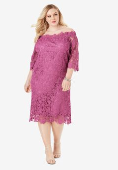 Off-The-Shoulder Lace Dress with Bell Sleeves, CHERRY GLOW