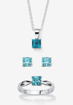 """Sterling Silver Simulated Birthstone Ring Earring and Necklace Set 18"""","""