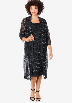 Lace & Sequin Jacket Dress Set, BLACK
