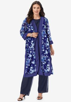 Three-Piece Duster & Pant Suit, NAVY FLORAL GEO