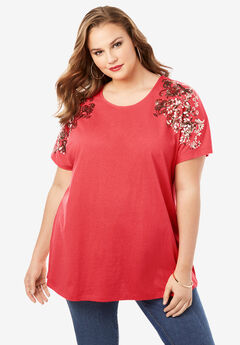 Embellished Tunic with Side Slits,
