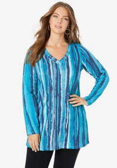 Studded Tie-Dye Long Sleeve Tunic,