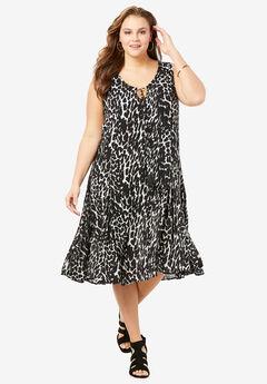 A-Line Crinkle Dress with Tassel Ties,