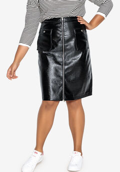 Patent Leather Zip-Front Skirt Castaluna , BLACK