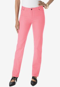 Straight-Leg Jean with Invisible Stretch® by Denim 24/7®, SALMON ROSE