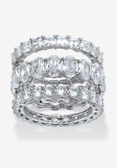 Platinum Plated 3-Piece Stackable Engagement Ring,