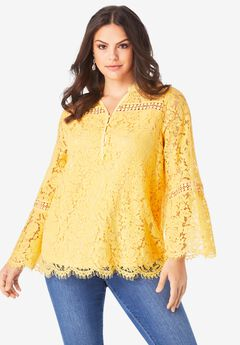 Scalloped Lace Henley Tunic,