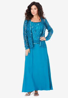 Beaded Lace Jacket Dress,