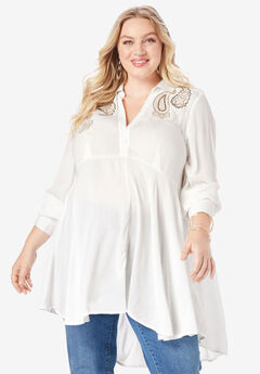 Embroidered Fit-And-Flare Crinkle Tunic, IVORY