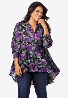 Fit-and-Flare Crinkle Tunic, PURPLE INTRICATE FLORAL