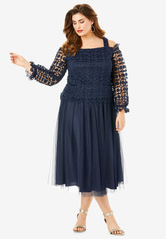 Lace Overlay Dress with Cold-Shoulder Detail, NAVY