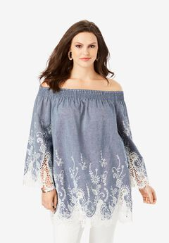 Off-The-Shoulder Chambray Tunic,