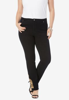 Gold Embroidered Straight-Leg Jean with Invisible Stretch® , GOLD EMBELLISHMENTS